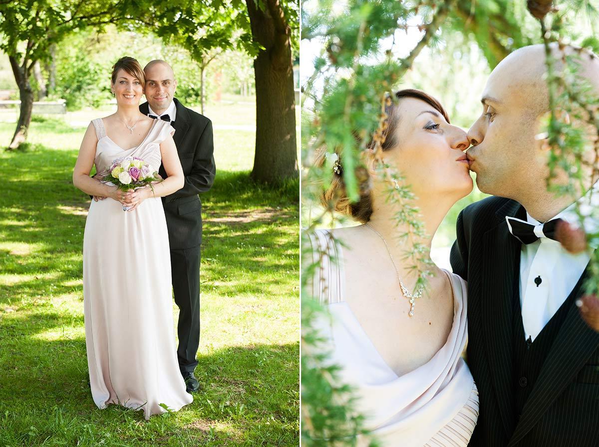 Hochzeitsfotograf Dortmund: Hochzeitspaar küsst sich am Haus Rodenberg in Dortmund Aplerbeck