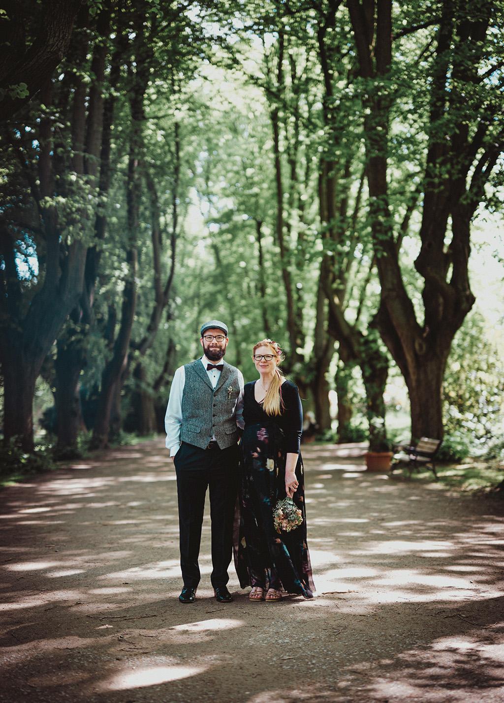 Portrait Hochzeitspaar im Filmlook